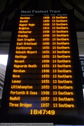 Clapham Junction Platform 13 destination board on the evening of April 22.
