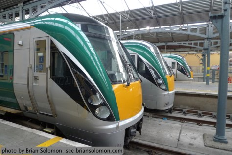 Irish Rail 22311 and other 22K-series Intercity Railcars under the restored 1840s-era Heuston Station train shed. Lumix LX-3 photo.