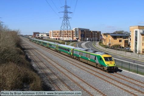 The 1020am Cork to Dublin-Heuston passenger train screams along on the fast line near Lucan South.
