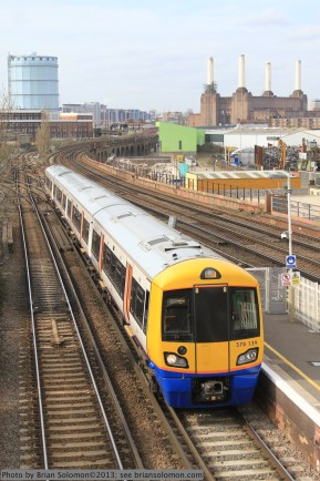 London Overground train approaches Wandsworth Road on its run from Clapham Junction to Highbury&Islington on April 17, 2013. Exposed with Canon EOS 7D.