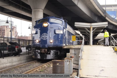 Pan Am's executive F's lead Saturday's (April 13, 2013) excursion at Boston's North Station: ASA 200, f/5, 1/40th sec. jpegs at full size (super size RAWs files were exposed simultaneously, along with color slides in another camera).