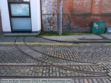 Vestiges of the Guinness Brewery narrow gauge railway on Rainsford Street, Dublin in March 2013.