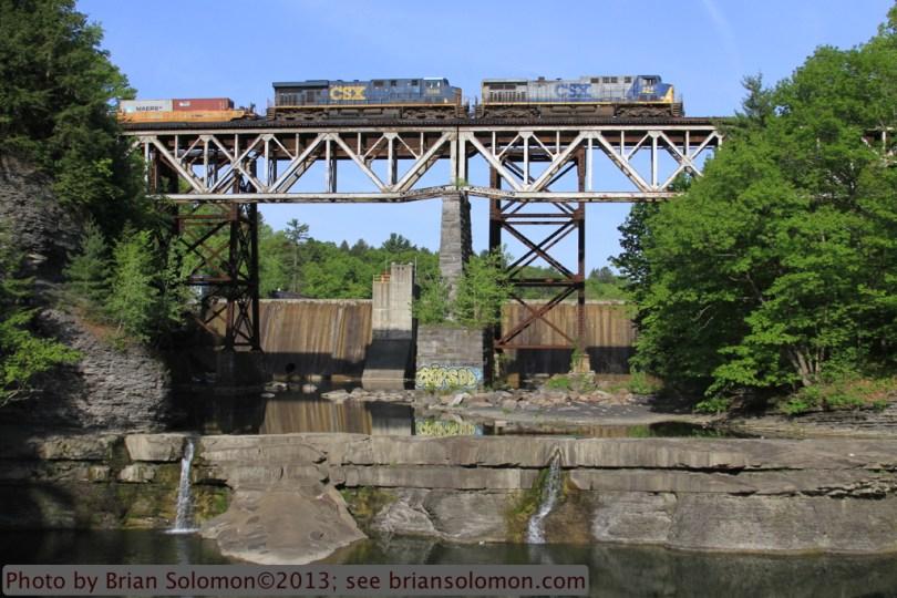 Freight train crosses bridge at Frenchs Hollow, New York.