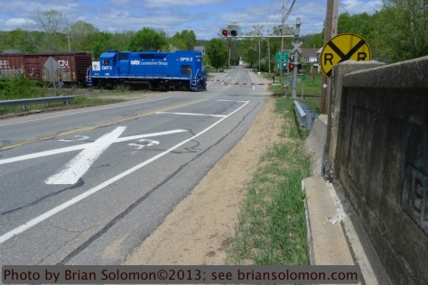 Mass-Central crosses Rt 67 at Barre, Massachusetts on May 13, 2013. Lumix LX-3 photo.
