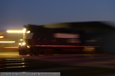 Train on grade crossing.