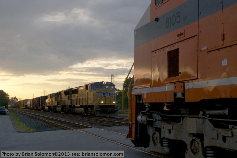 Freight trains at meet.