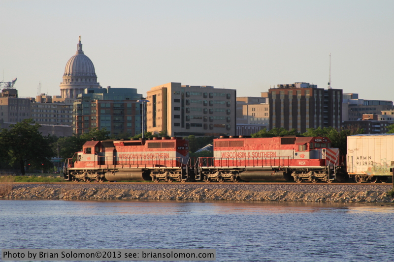 Wisconsin State Capitol building with freight train.
