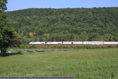 Passenger train with voltaic farm.