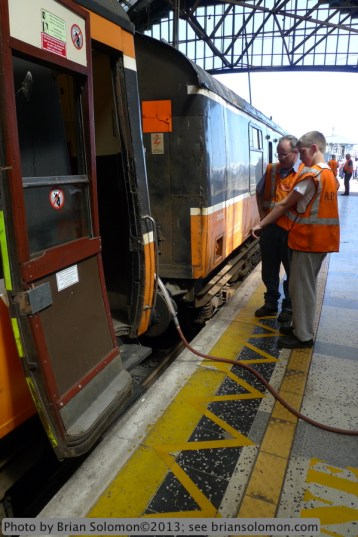 RPSI staff servicing the train at Cork. Lumix LX3 photo.