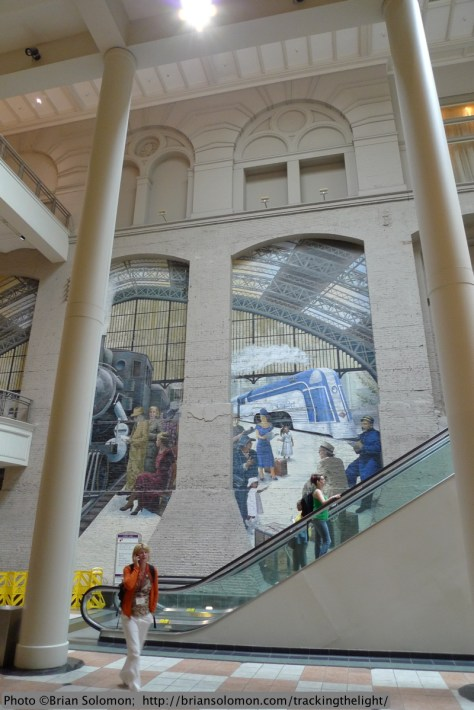 This mural in the old Reading Terminal depicts the station's former glory. Lumix LX3 photo.