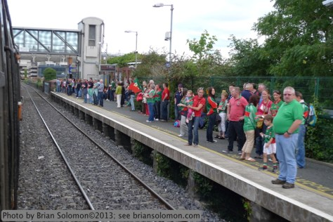 GAA supporters line the platform at Drumcondra Station.