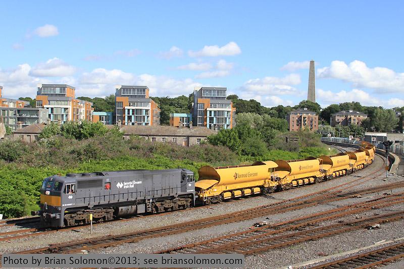 Irish Rail Gray 077 Leads Ballast Train