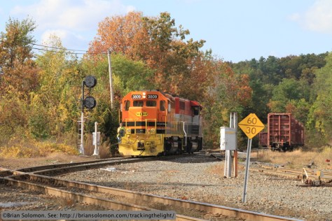 A southbound New England Central local approaches the Palmer diamond at 2:33 pm. Canon EOS 7D photo.