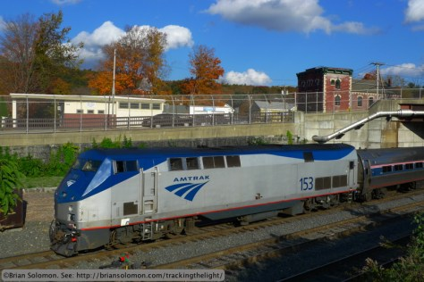 Amtrak 56 has pulled forward onto the interchange and then reversed back again to make room for its southward counterpart to access the switch that connects the interchange track with CSX's controlled siding. Lumix LX3 photo.