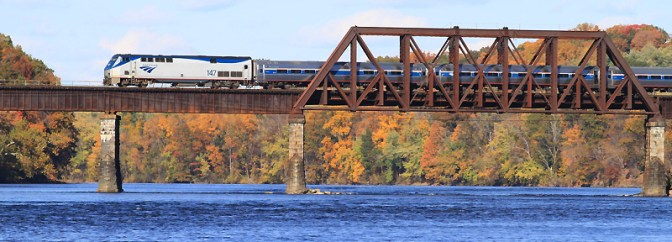Amtrak Crosses the Connecticut, Windsor Locks, October 20, 2013.