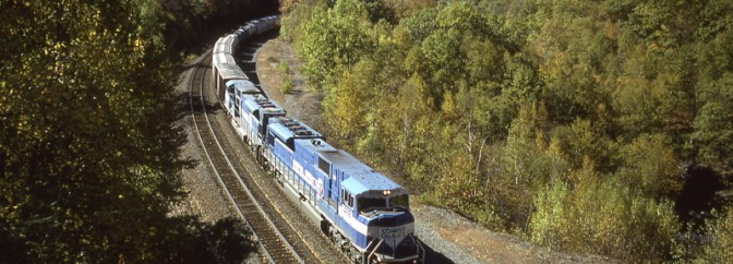 Conrail SD80MACs on the Boston & Albany, October 11, 1996.