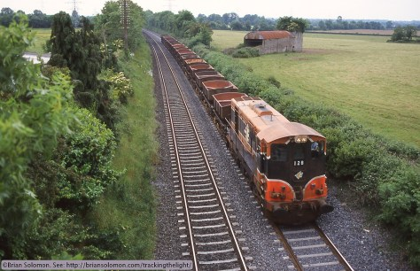 Irish Rail 128 w ety Gypsum at Stacumny Bridge 2000 Brian Solomon photo 2009241