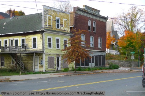 Downtown Millers Falls, Massachusetts. Exposed on October 23, 2013 with a Lumix LX3.