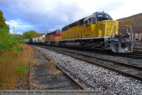 New England Central symbol freight 611 waits for a crew at Brattleboro, Vermont on the morning of October 18, 2013. Exposed using the 3:2 aspect ration.