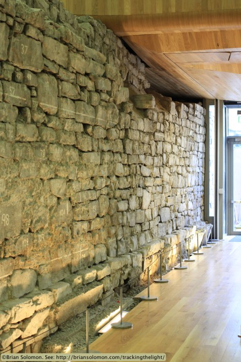 Portion of the old Dublin city wall within Dublin City Council offices at Wood Quay. Canon EOS 7D 40mm lens.
