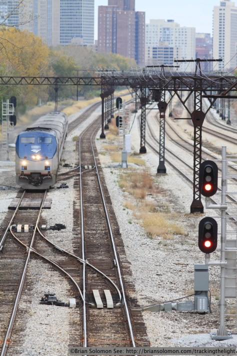 Amtrak 390 roars northward on the former Illinois Central at East Pershing Street in Chicago on November 7, 2013. Exposed with a Canon EOS 7D fitted with an f2.0 100mm lens.