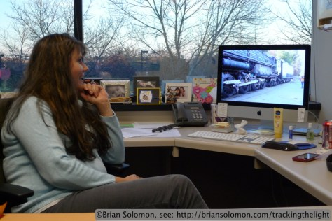 Angela watches the live feed from California to keep pace with the Big Boy.