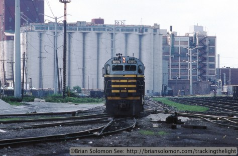 BRC's Alco C-424s near the KCBX terminal in Chicago on July 2, 1995. Nikkormat FT3 with Kodachrome 200 slide film.