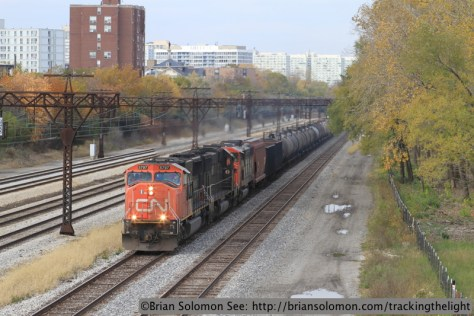 Canadian National's 33891 rolls southward on the former Illinois Central at East Pershing Street in Chicago on November 7, 2013. Exposed with a Canon EOS 7D fitted with an f2.0 100mm lens.
