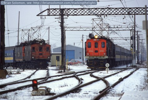Canadian National electrics at Val Royal, Montreal on Jan 11, 1993. Time was running out for these ancient machines. Tom Carver and I made special trip to photograph them despite exceptionally frosty conditions. Exposed on Fujichrome Velvia 50 slide film using a Nikon F3T.