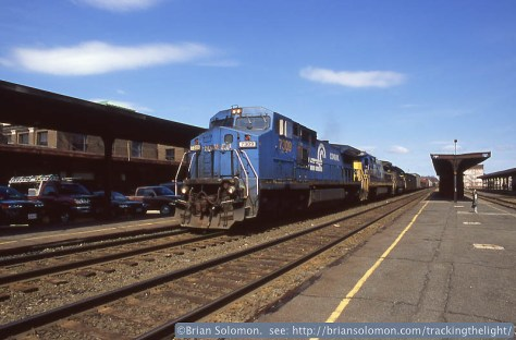 Westward CSX freight rolls through Springfield Station on April 5, 2004.