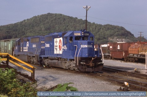 Conrail, Hollidaysburg, Pennsylvania 6:30 pm on July 27, 1987. Exposed on Kodachrome 25 with a Leica M2 fitted with 50mm f2.0 Summicron.