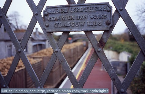Footbridge at Clonmel, County Tipperary on November 19, 2004. Exposed with a Nikon F3 on Fujichrome slide film.