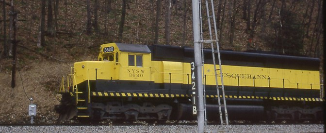 DAILY POST: Susquehanna SD45 and an Erie Semaphore, Canaseraga, New York.