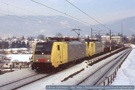 A southward freight near Villach against an Alpine backdrop. My fingers were numb when I made this image.