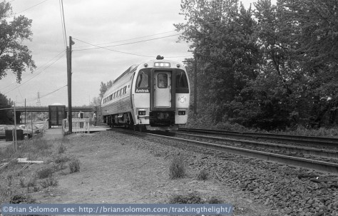 A lone SPV2000 makes a station stop at Windsor Locks, Connecticut in May 1985. From my experience, it was relatively unusual to find single SPVs working in Springfield-Hartford-New Haven shuttle service. Exposed with a Leica 3A fitted with a Canon 50mm lens. Contrast controlled locally in post processing using Photoshop.