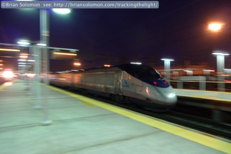 The Acela Express accelerates out of New Haven. I panned the rear of the train with the Lumix image stabilization set 'on'; f2.8 at 1/5th of a second, ISO 200.