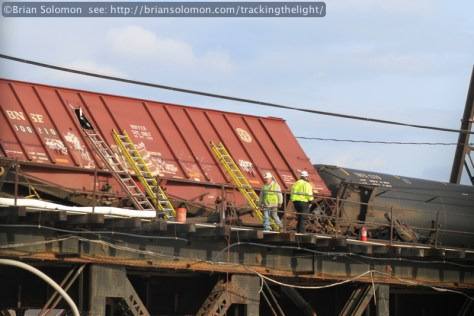 View from I-76; a derailed sand hopper at the site of the January 20, 2014 Schuylkill River Bridge derailment. Canon EOS 7D with 100mm lens.