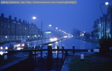 Dublin's Grand Canal as viewed from Portobello Bridge in March 1998. Nikon F3T with with a 50mm lens, exposed on Fujichrome 64T color slide film.