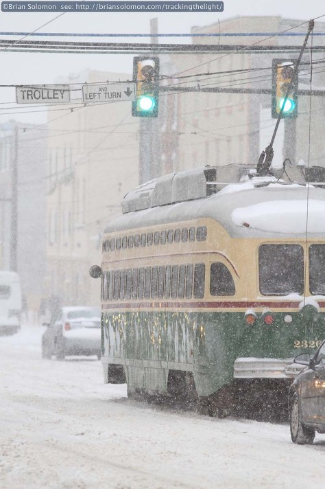Trailing view of a SEPTA PCC on Girard Avenue, on January 21, 2014. Canon EOS 7D photo.