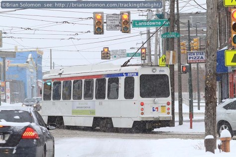 SEPTA number 10 trolley takes the corner at Lansdowne Avenue. Canon EOS 7D photo.