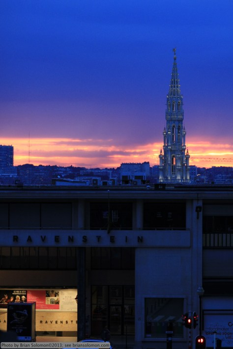 Sunset in Brussels. Reminds me of a scene from the cover of a fantasy novel . . .
