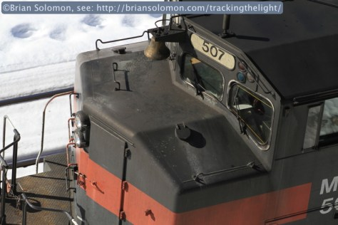 Tight view of Maine Central 507 (a former Canadian National GP40-2L) exposed with my Canon EOS 7D with 100mm lens.
