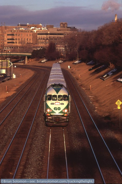 Toronto bound GO Transit train near Sunnyside on February 8, 2010. I exposed this view on Fujichrome using my Canon EOS 3 with a 200mm lens.