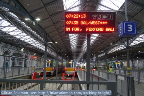 Heuston Station departure board shows the 0735 Galway train with connections to Mayo. I was heading to Foxford, one of the smallest stations on the route. I used a slow shutter speed to capture the LED sign. My exposure was f2.5 at 1/40th of a second.  LEDs are not a constant light source and flicker on and off many times a second. While this isn't perceptible to the naked eye, when photographed a higher shutter speeds the lights may be caught instead of on, which makes it hard to read the signs.