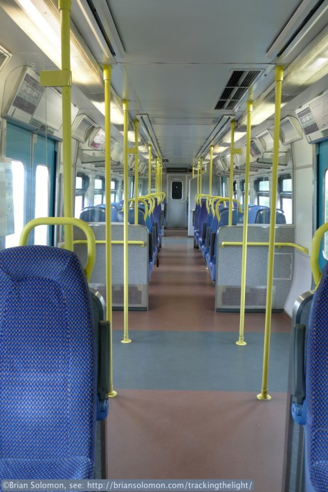 Interior view of the 2800-series railcar I traveled on between Manulla Junction and Foxford. Lumix LX3 photo.