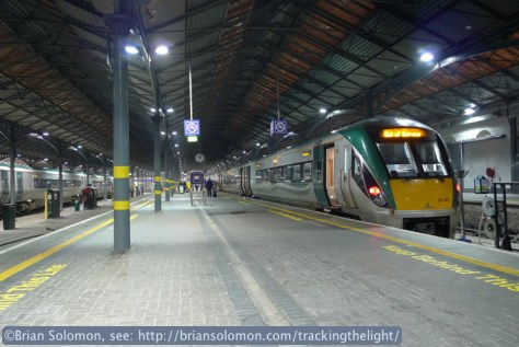 I'd arrived from County Mayo on this Irish Rail Intercity Rail Car (ICR), seen on the platforms at Heuston Station Station on the evening of March 13, 2014. Exposed with my Lumix LX3.