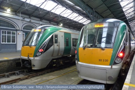 Rotem-built 22000 series Intercity Rail Cars are Irish Rail's standard passenger consist for most services. On March 13, 2014, ICRs destined for Waterford and Galway were side by side on the platforms at Heuston Station. Lumix LX3 photo.
