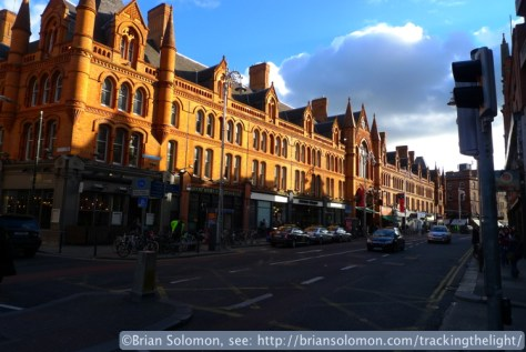 The Market Arcade on South Great Georges Street catches the afternoon sun. Exposed with a Lumix LX3 in February 2014.