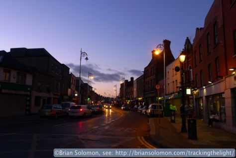 Sunset on Stoneybatter in Dublin's north inner city. Exposed with a Lumix LX3 in February 2014.