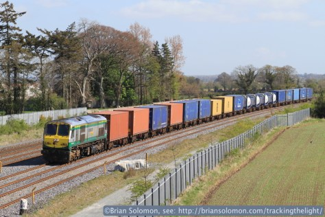 While waiting for the 3rd pass of the Sperry train we caught the daily down IWT Liner (Dublin-Ballina containers). This is a favoured location at Stacumny Bridge near Hazelhatch. Canon EOS 7D with 100mm lens.